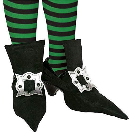 Mädchen Schwarz Silber Hexe Spitz Überschuhe Unheimlich Gruselig Halloween Kostüm Zubehör