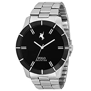 Polo Hunter Analogue Men's Watch (Black Dial Silver Colored Strap)