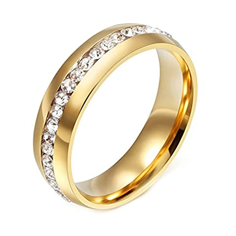 AnazoZ Fashion Jewelry 18k Gold Plated Crystal Wedding Rings for Women Stainless Steel Ring Color Gold Ring Size N 1/2