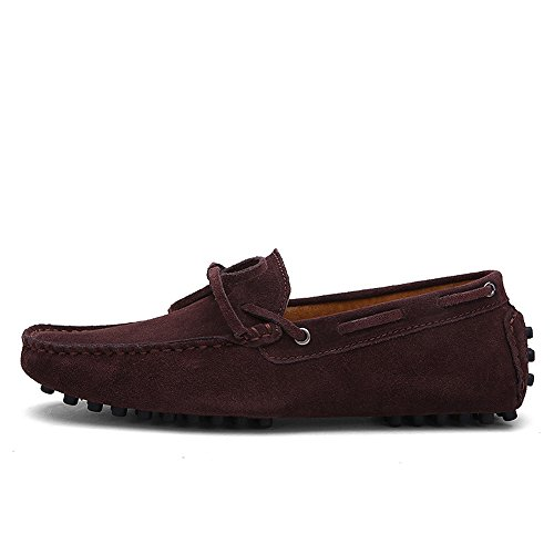 iLory Chaussures Bateau pour homme en suédine Mocassins Pantoufles de Conduite,Men's-dérapant sur corde Nœud Plates Loafers Café