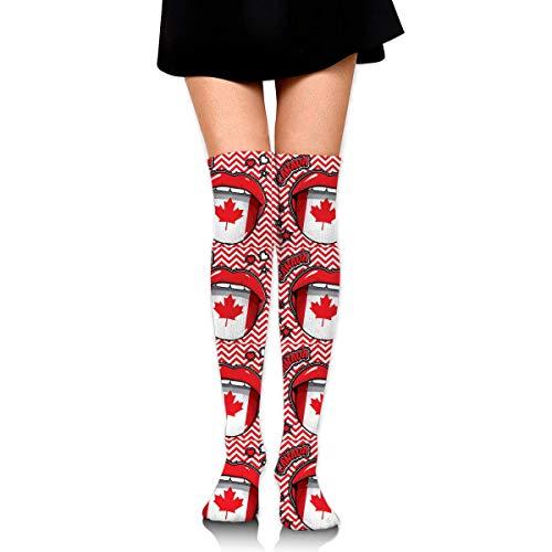 Billig Vegas Kostüm Las - Eybfrre Happy Birthday Canada Pop Art Women's Knee High Socks Fancy Design, Best for Running, Athletic Sports,Yoga.