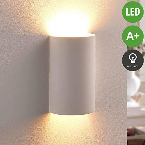 Lindby LED Wandleuchte, Wandlampe Innen 'Colja' dimmbar (Modern) in Weiß aus Gips/Ton u.a. für Wohnzimmer & Esszimmer (1 flammig, G9, A+, inkl. Leuchtmittel) - Wandstrahler, Wandbeleuchtung