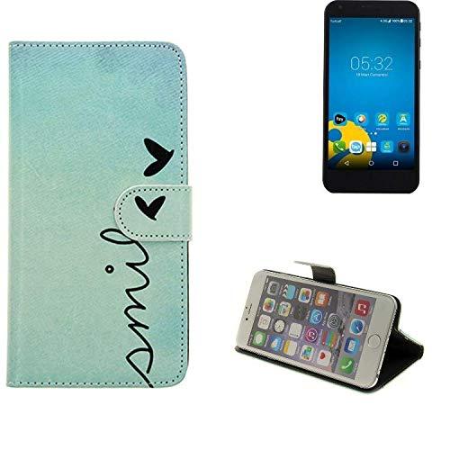 K-S-Trade® Schutzhülle Für Vestel 5000 Dual-SIM Hülle Wallet Case Flip Cover Tasche Bookstyle Etui Handyhülle ''Smile'' Türkis Standfunktion Kameraschutz (1Stk)