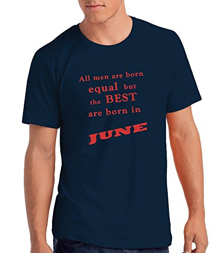 """Best Men are Born in June"" Geburtstagsgeschenk T-Shirt Marineblau Rot"