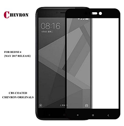 For XiaoMi RedMi 4 [May 2017 Release], Full Screen Tempered Glass Screen Protector With Chevron CBS Edge To Edge Full Coverage Frame Technology For RedMi 4 - Sapphire Black