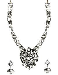 Zaveri Pearls Antique Silver Long Temple Necklace Set For Women-ZPFK6316