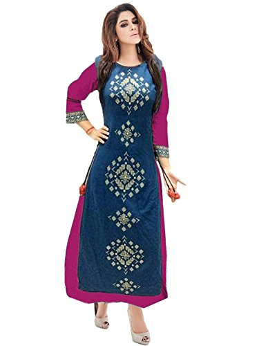 Roadstar India Women's Taffeta Silk Embroidered Stitched Kurti (DIWALI_OFFER_Blue and Pink_Medium)