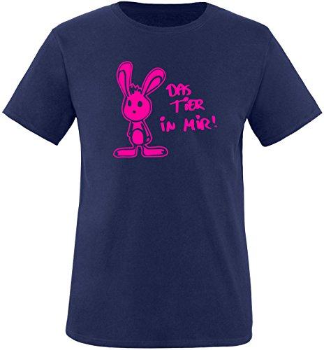 Luckja Das Tier in mir Herren Rundhals T-Shirt Navy/Neonpink