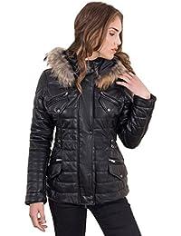 D'Arienzo - LUCILLA • colore nero • piumino in pelle con cappuccio in pelliccia nappa effetto liscio