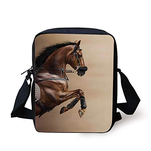 LULABE Horses,Chestnut Color Horse Jumping in Hackamore Life Force Power Honor Love Sign Print,Brown Cream Print Kids Crossbody Messenger Bag Purse