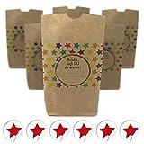 6 x bedruckte Party-Tüten (Kreuzbodenbeutel) mit Motiv: Bunte Sterne / Geschenktüten mit passenden runden Etiketten / für Mitgebsel, Süßigkeiten oder als Gast-Geschenk