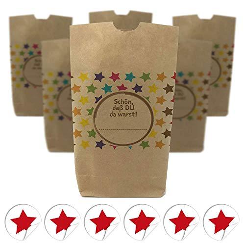 6 bedruckte Party-Tüten (Kreuzbodenbeutel) Motiv: Bunte Sterne/Geschenktüten mit passenden runden Etiketten für Mitgebsel oder als Gast-Geschenk