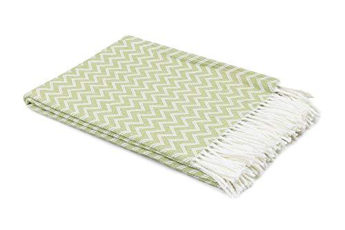 myHomery Decke aus Baumwolle - Tagesdecke leicht & kuschelig - Made IN EU - Wolldecke mit Zick-Zack Muster - Wohndecke Fransen - Kuscheldecke modern und hochwertig - Weiß/Hellgrün | 130 x 170 cm - Mit Tagesdecke