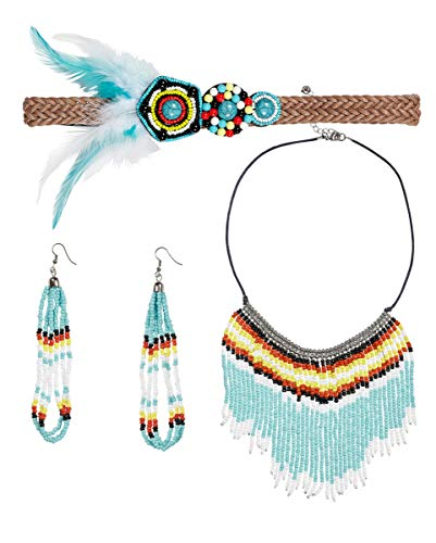 Horror-Shop Indianerin Kostümschmuck mit Stirnband, Ohrringen & Halskette (Indianer Kostüm Schmuck Ohrringe)
