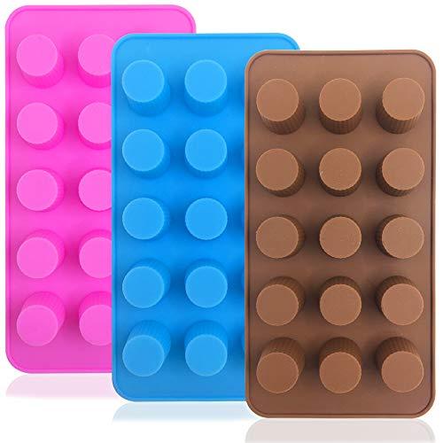 FineGood Silikon-Formen für Süßigkeiten, Fettbomben, Schokolade, Eiswürfel, Kekse, Backformen, Schokolade, Rosa, Blau, 3 Stück