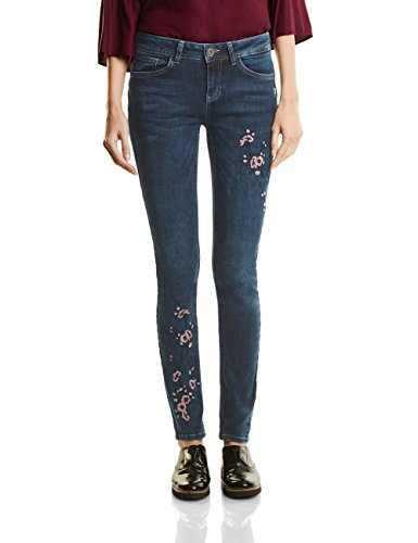 Street One Denim-York Mw,Slimfit,Emb, Jean Coupe Ajustée - Femme Blau (Natural Blue Indigo Wash 11114)