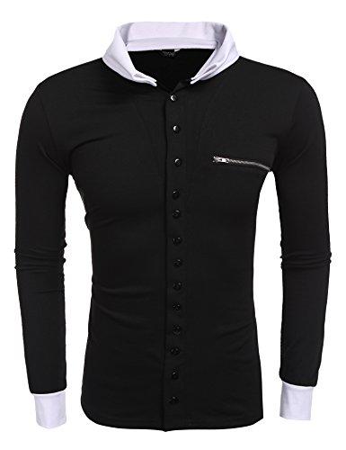 Coofandy Herren Langarmshirt mit Kentkragen Langarm T-shirt Einfarbig Pullover Stylisch Sweatshirt Strickpullover