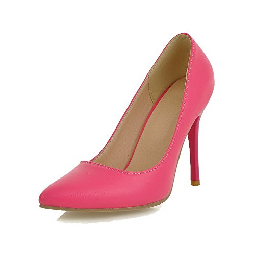 VogueZone009 Donna Luccichio Tirare Scarpe A Punta Tacco Alto Puro Ballet-Flats RoseRed