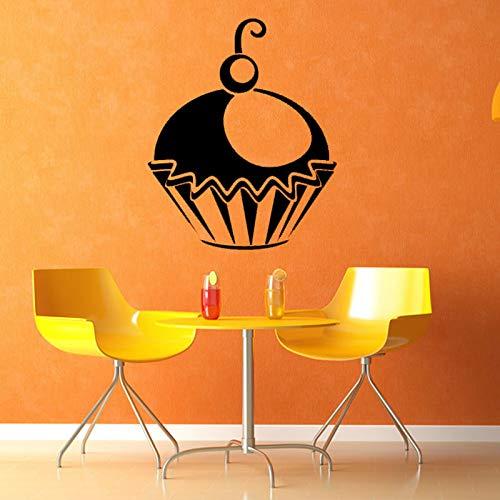 mmzki Kirsche In der Cupcake Silhouette Wandaufkleber Vinyl Abnehmbare Wohnkultur Wasserdichte Küche Lounge Esszimmer Tapete 44 cm X 52c (Schrank Glas Kirsche Türen Mit)