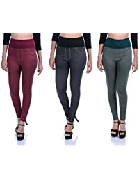 Timbre Women Skinny Fit Denim Printed High Waist Strachable Lycra Jeggings Combo Pack Of 3