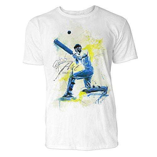 Cricket Sinus Art ® Herren T Shirt ( Weiss ) Crewneck Tee with Frontartwork