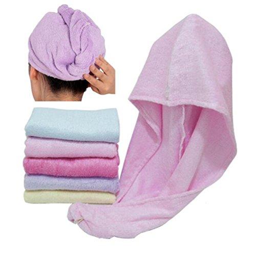 Happyit 1 PCS Hohe Qualität 100% Bambusfaser Weiche Kopf Handtuch Super Magie Absorbierende Haar Trocknen Hut für frauen Mädchen dame Bad Dusche (Rosa)