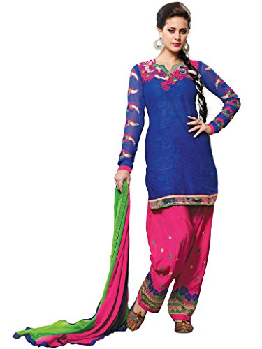Blue Foux Cotton Semi Party Wear Thread Patch Embroidery Patiala Suits 6012