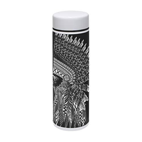 Tizorax Zentangle stilizzato testa d' aquila in Feathered War sportiva in acciaio INOX vuoto bottiglia d' acqua thermos per uso all' aperto, campeggio, ciclismo, fitness, palestra, yoga–220ml