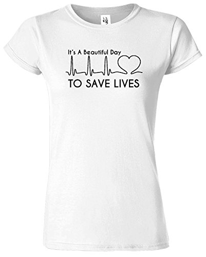 Its A Beautiful Day Tag um Leben-Grau Anatomie-Damen-T-Shirt weiß (White) / Schwarz Design