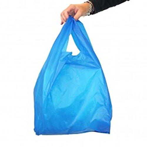 Super Stark Blau Kunststoff Weste Tragetaschen 11x 17x 21Stall Store Shop Staubbeutel * Schnelle Versand am gleichen Tag nach Zahlung ist geräumtes *, plastik, blau, BLUE STRONG BAG 100