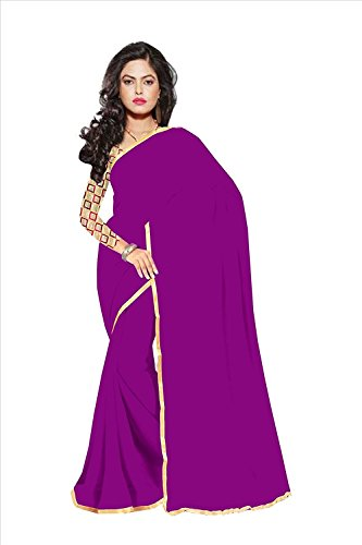 Sparsh Sarees calaction chiffon Dark Purple colored Plain Saree comes with Matching Net Fabrics Unstitched blouse.