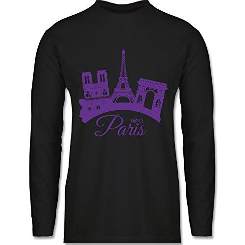 Skyline - Skyline Paris Frankreich France - Longsleeve / langärmeliges T-Shirt für Herren Schwarz