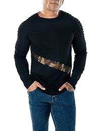 BUSIM Men's Long Sleeved Shirt Casual Mesh Stitching Raglan Sleeves Pleated Mesh Slim Fashion T-Shirt Diagonal...