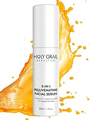 Vitamin C Facial Serum with Hyaluronic Acid & Peptide Complex - Reduce Wrinkles, Fine Lines & Remove Dark Spots. All In One Anti Ageing Moisturiser Wrinkle Cream by Holy Grail Beauty from Holy Grail Beauty