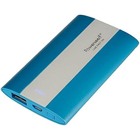 Powerseed® Pocket, 2.700 mAh. Carica Batteria Esterno. Ricarica un iPhone 5S per 1,5 volte, un iPhone 6 per una volta completa e il Samsung Galaxy S6 all'75%. Compatibile con tutti i dispositivi con porta ricarica USB. Colore: Blu