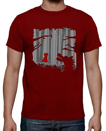 latostadora - Camiseta Caperucita para Hombre Rojo M