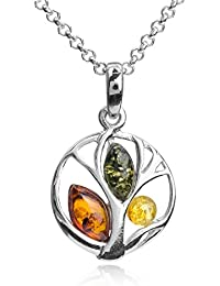 Honey Amber Sterling Silver Classic Small Grape Leaves Pendant Necklace 46 cm E4RYJ