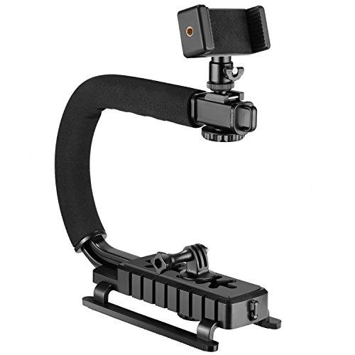 Neewer 4-in-1 Stabilizzatore Staffa Tipo Forma C Portatile per Riprese da Angoli Bassi Compatibile con Nikon Canon Sony GoPro SJCAM Garmin Virb XE iPhone Samsung