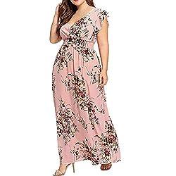 VEMOW Plus Size Elegante Damen Frauen Casual Kurzarm Kalt Schulter Boho Blumendruck Casual Täglichen Party Strand Langes Kleid Schulterfrei Strandkleid(X6-Rot, 50 DE / 3XL CN)