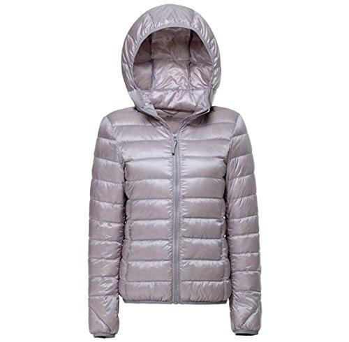 Topgraph Damen Daunenjacken Leicht Grau Jacke Lightdaune Mit Kapuze Ultra Lightweight Jacket