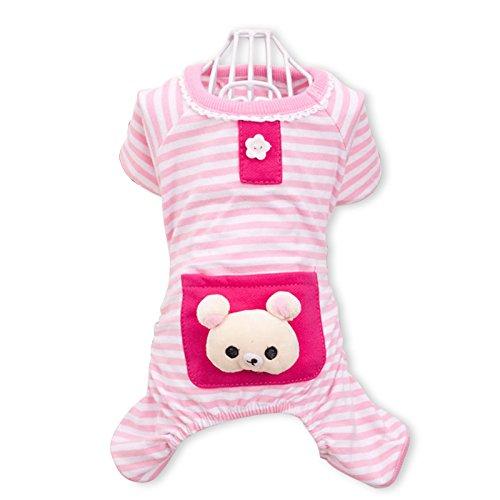 PETCUTE Niedliche Hundekleidung Pyjamas Weiche Baumwollkleid Overall Vier-Bein Jumpsuit Haustierkleidung Für Herbst Herbst Winter Rosa (Stripe Baumwolle Pyjama)