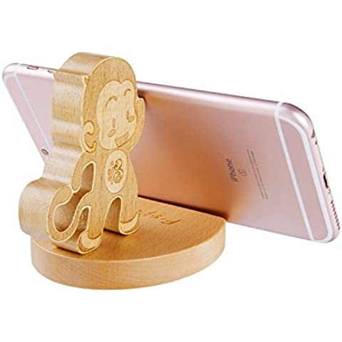 SoftFloat Creative Cute Natural Wooden cell Phone Stand/ Holder For Iphone Ipad Samsung Phone Tablet Plate PC (Monkey)