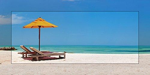 Artland Modell-Rahmen Wand-Bild gerahmt mit Motiv BlueOrange studio Liegestühle und ein orangener Sonnenschirm an einem schönen tropischen Strand auf den Malediven Foto Blau 51,4x101,4x1,6 cm D0ON