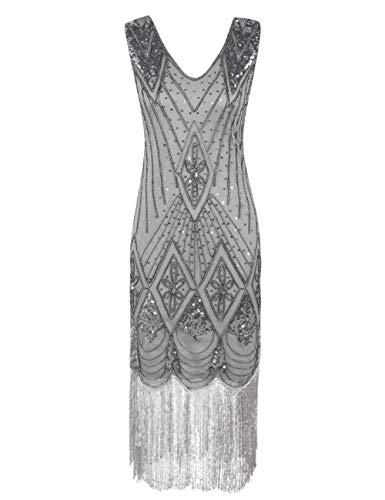 PrettyGuide Damen 1920er Gatsby Art Deco Pailletten Cocktail Charleston Kleid XL Grau