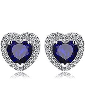 JewelryPalace Runde Herz Des Ozeans 1.2ct Synthetisch Blau Saphir Ohrstecker 925 Sterling Silber ohrring stecker