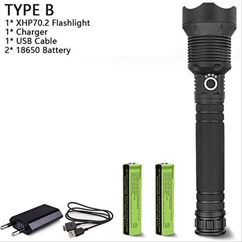 TVKL XHP70.2 B Taschenlampe, 1.200 Lumen, leistungsstark,