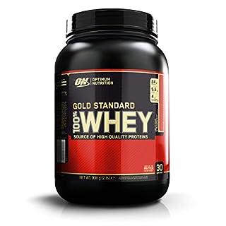 OPTIMUM NUTRITION Whey Gold Standard 908g Delicious Strawberry geschmack Protein-Nährstoff aus mehreren Fraktionen mit Molkeprotein-Isolat und -konzentrat, BCAA-Aminosäuren und Glutamin
