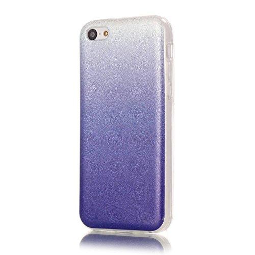 TPU Coque iPhone 5C, Bling Bling Gliter Sparkle Coque Paillette [ Ultra Mince ] Housse Etui Premium Coque pour Apple iPhone 5C +Bouchons de poussière (14RR) 12