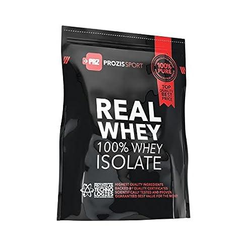 100% Real Whey Isolate Prozis protéine en poudre (1250g) - Meilleur goût fraise pour la perte de poids, la récupération musculaire et la musculation. Facile à digérer et faible en glucides - 50 doses !