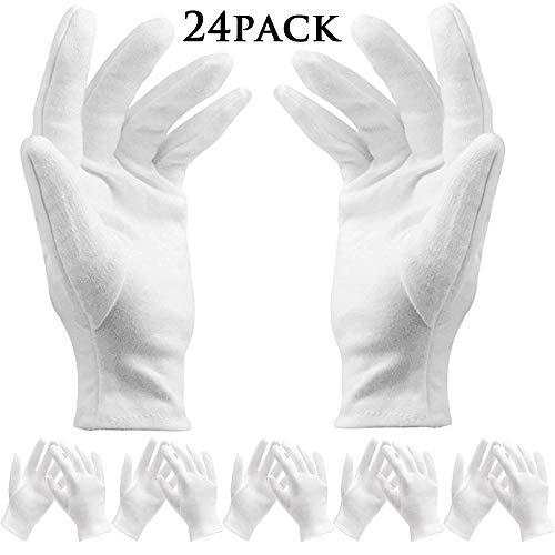 BESTZY 12 Paar weiß Baumwolle Handschuhe/Baumwollhandschuhe – Kosmetik Feuchtigkeitsspendende Handschuhe für trockene Hände,Neurodermitis,Schönheit, Münze,Schmuck und Silber Inspektion – Unisex